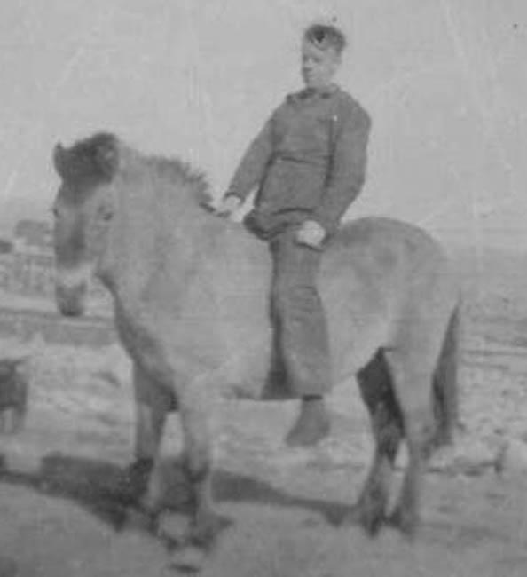 En god venn og - tidvis - et arbeidsjern. Her med Fritz Øien på ryggen. Ca 1931