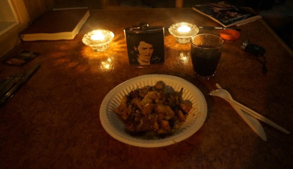 Et særs romantisk og velanrettet gourmetmåltid.