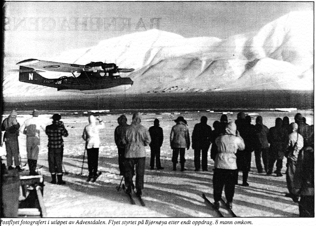 Catalinaen i Adventalen, etter sigende bare timer før katastrofen var et faktum. Faksimilie fra Svalbardposten.