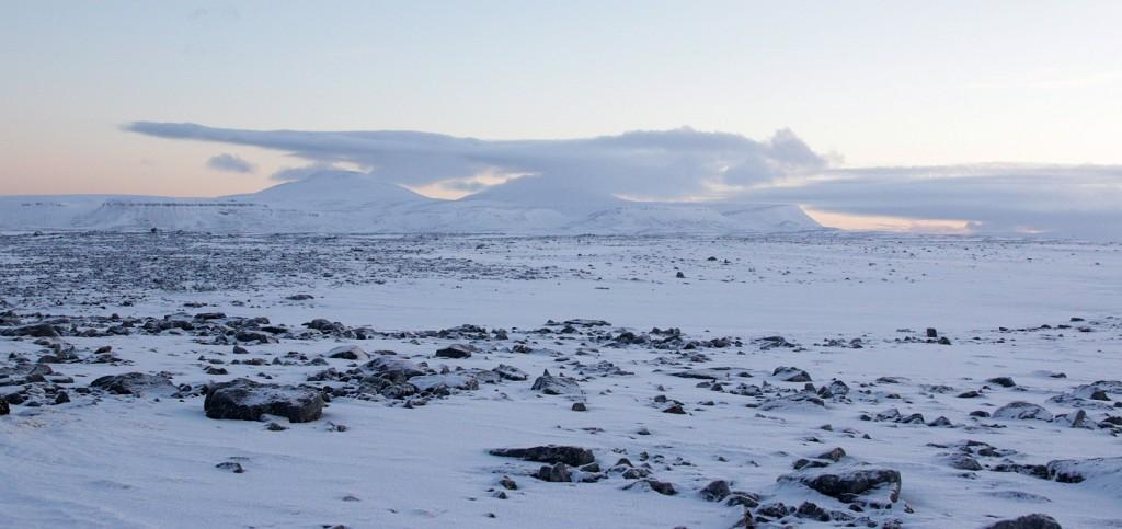 De flate partiene på øya domineres av stein, stein og mer stein. I horisonten reiser Miseryfjellene seg.